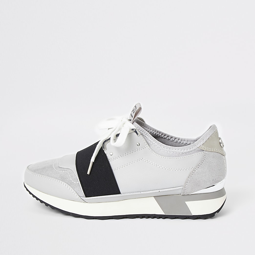Light grey lace-up runner trainers