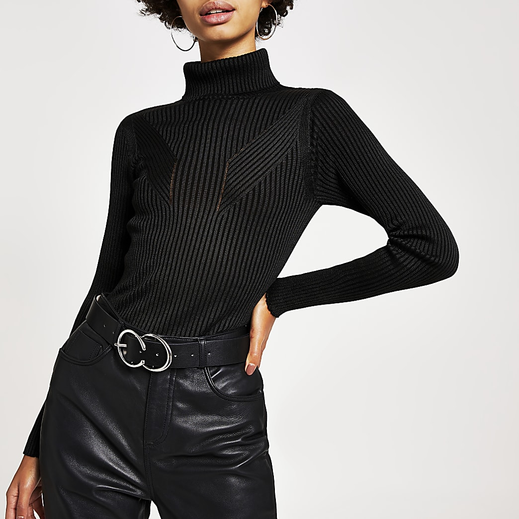 Black ribbed knit roll neck top