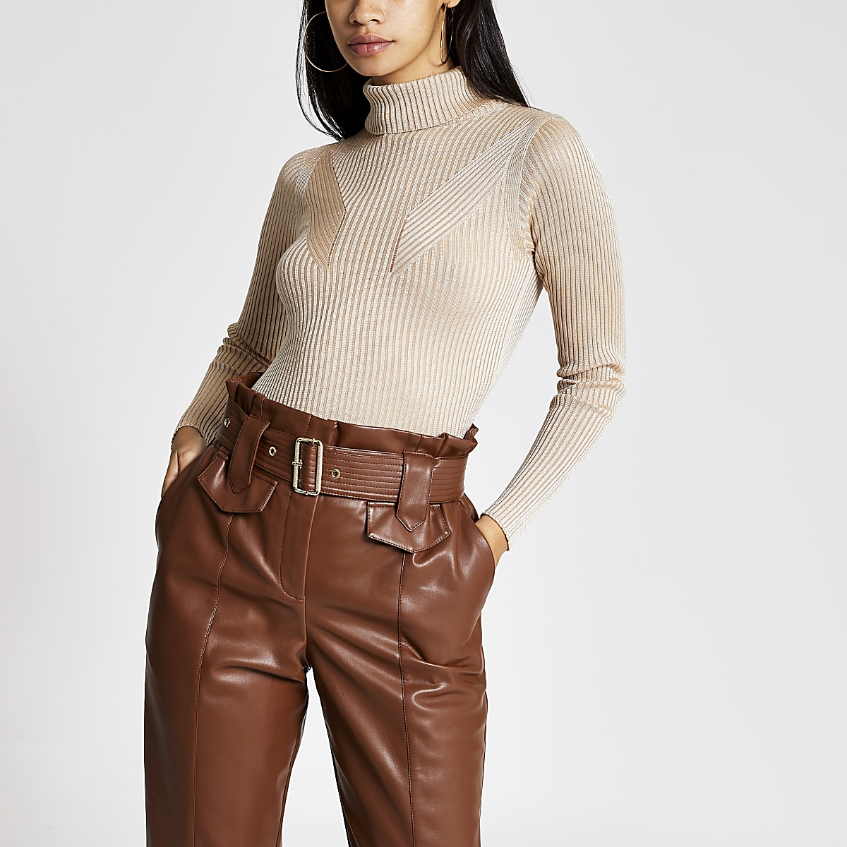 Cream metallic long sleeve roll neck top