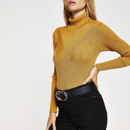 Dark yellow ribbed knit roll neck top