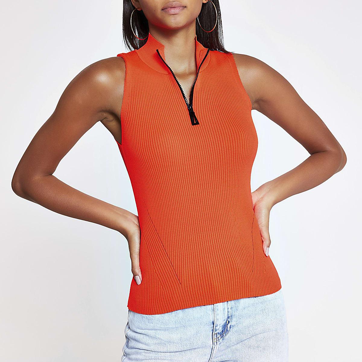 Neon orange half zip knitted top