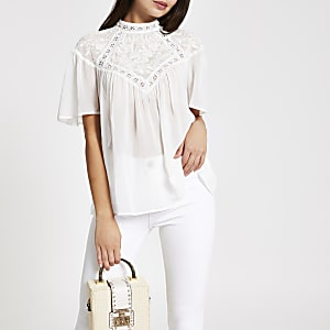 White lace broderie blouse