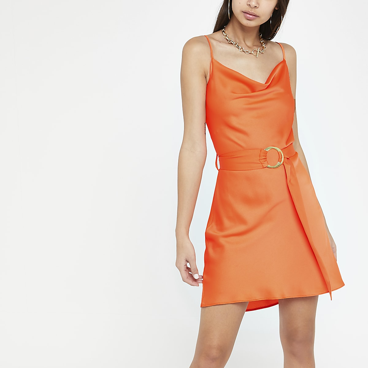 Neon orange cowl neck belted slip dress