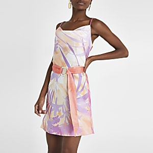 dc7270f0ef495 Pink print cowl neck slip dress