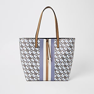 Blue RI monogram shopper bag
