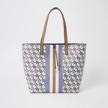 Blue RI monogram shopper bag