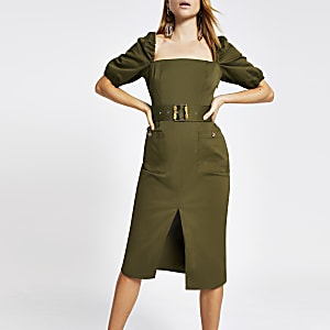 Khaki belted bardot puff sleeve dress