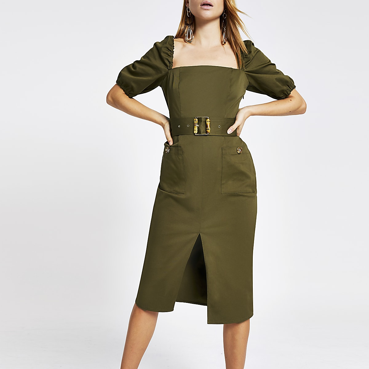 Khaki belted bardot puff sleeve dress
