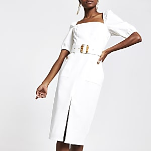 White belted bardot puff sleeve dress