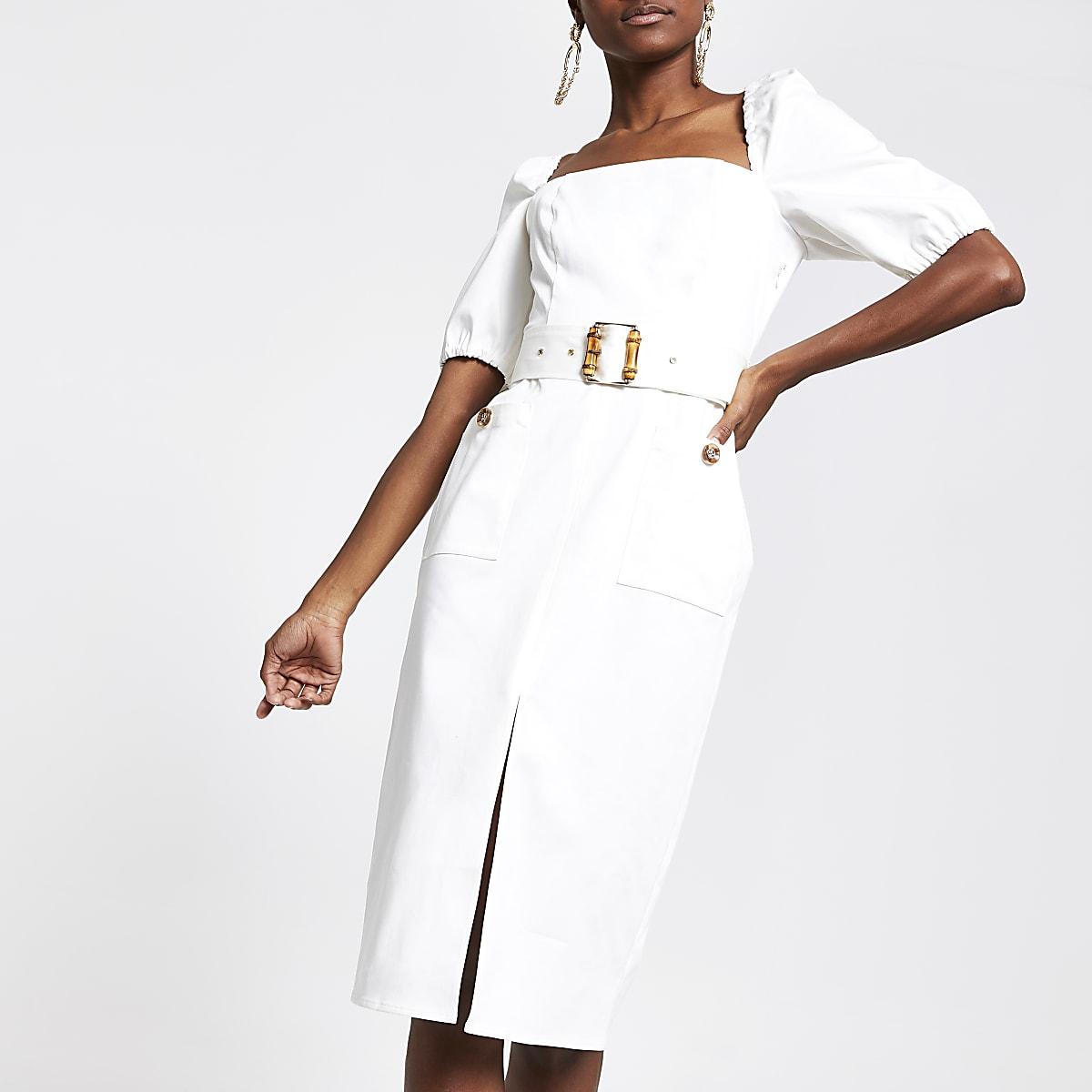 White belted bardot puff sleeve dress