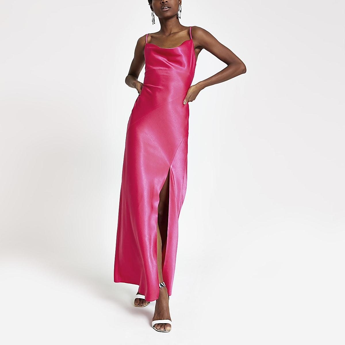 1d50401a09b Pink cowl neck maxi slip dress - Maxi Dresses - Dresses - women