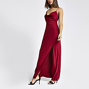 Red cowl neck maxi slip dress