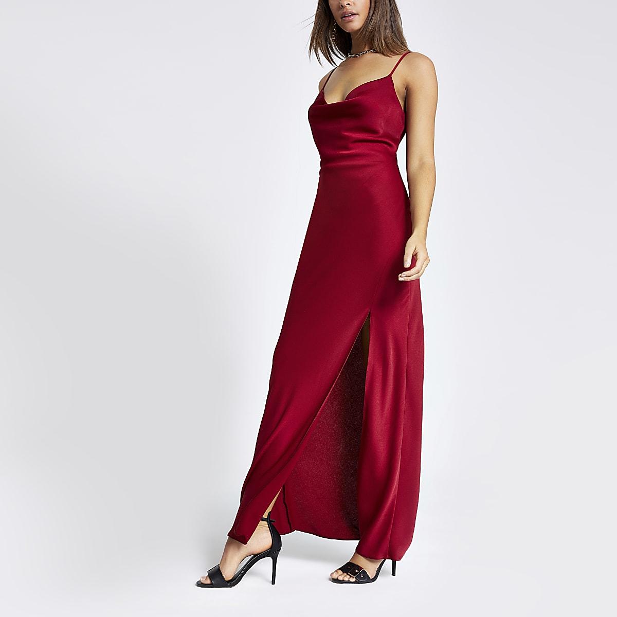 Red cowl neck maxi slip dress