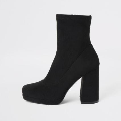 Black platform heel sock boots