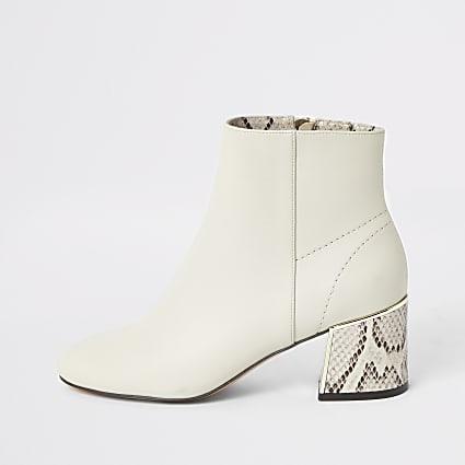 Beige snake print block heel boots