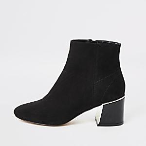 Black faux suede block heel boots