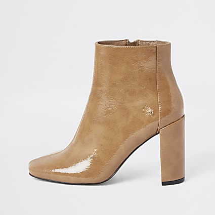 Beige patent square toe block heel boots