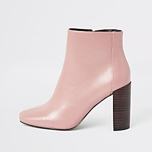Pink patent square toe boots