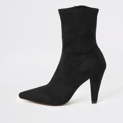 Black pointed heel sock boots