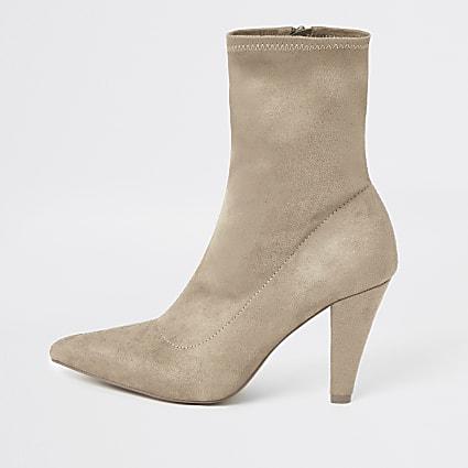 Beige pointed heel sock boot