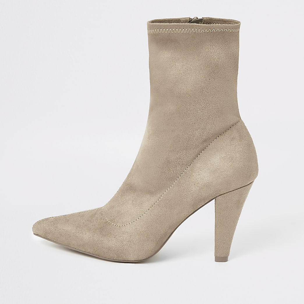Beige pointed heel sock boot