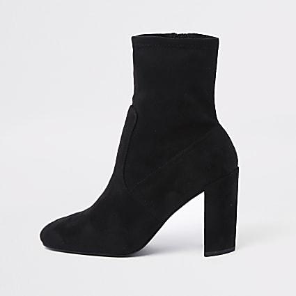 Black heeled sock boots