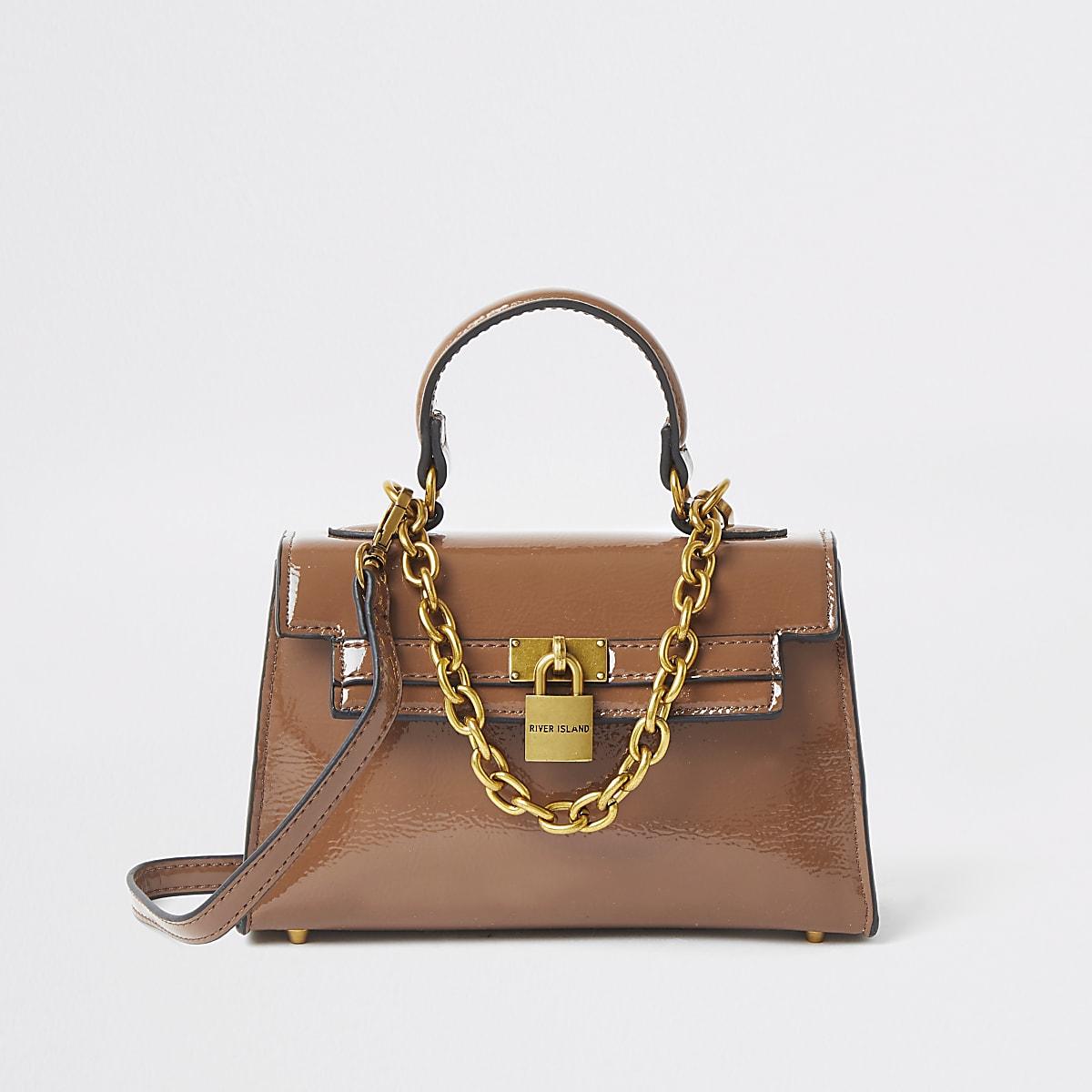 Donkerbeige kleine handtas