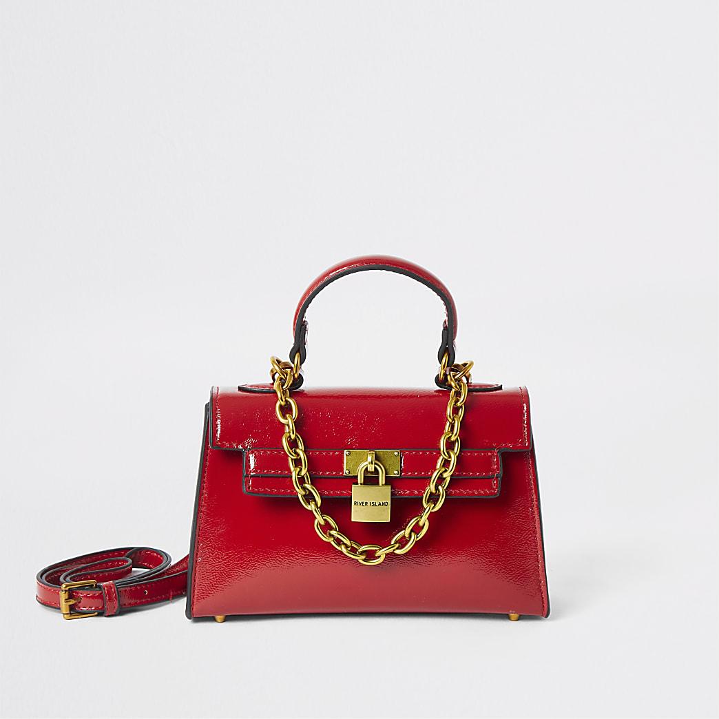 Red patent mini tote bag