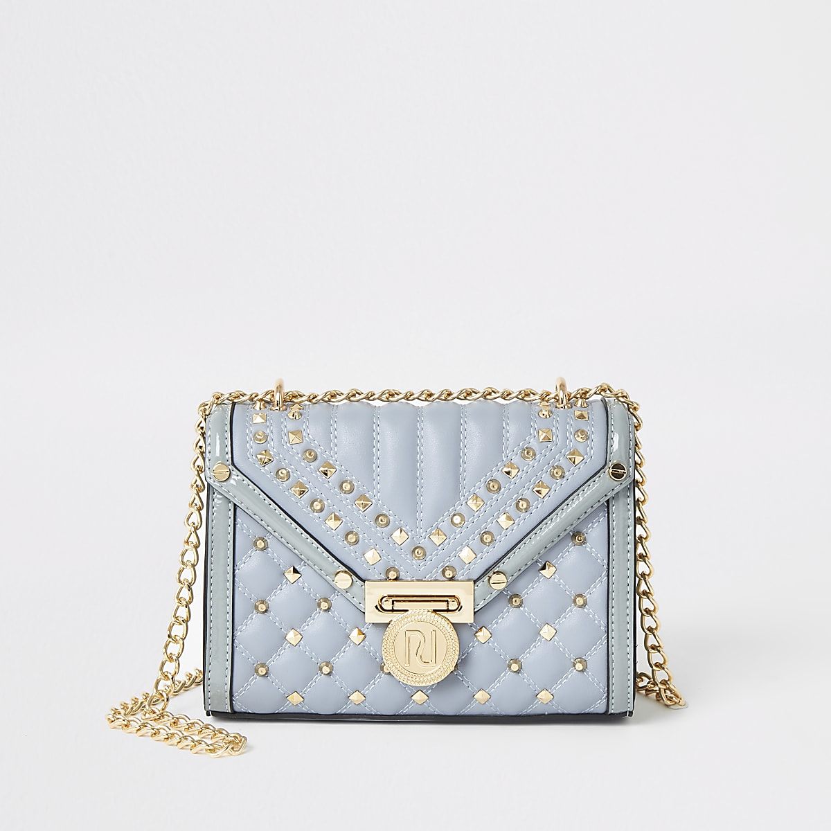 Light blue studded quilted cross body bag