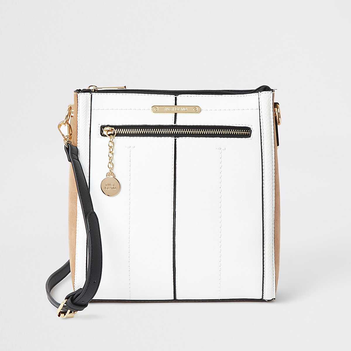 White zip front messenger bag