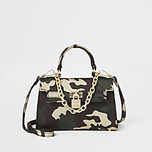 Dark green camo print mini tote bag