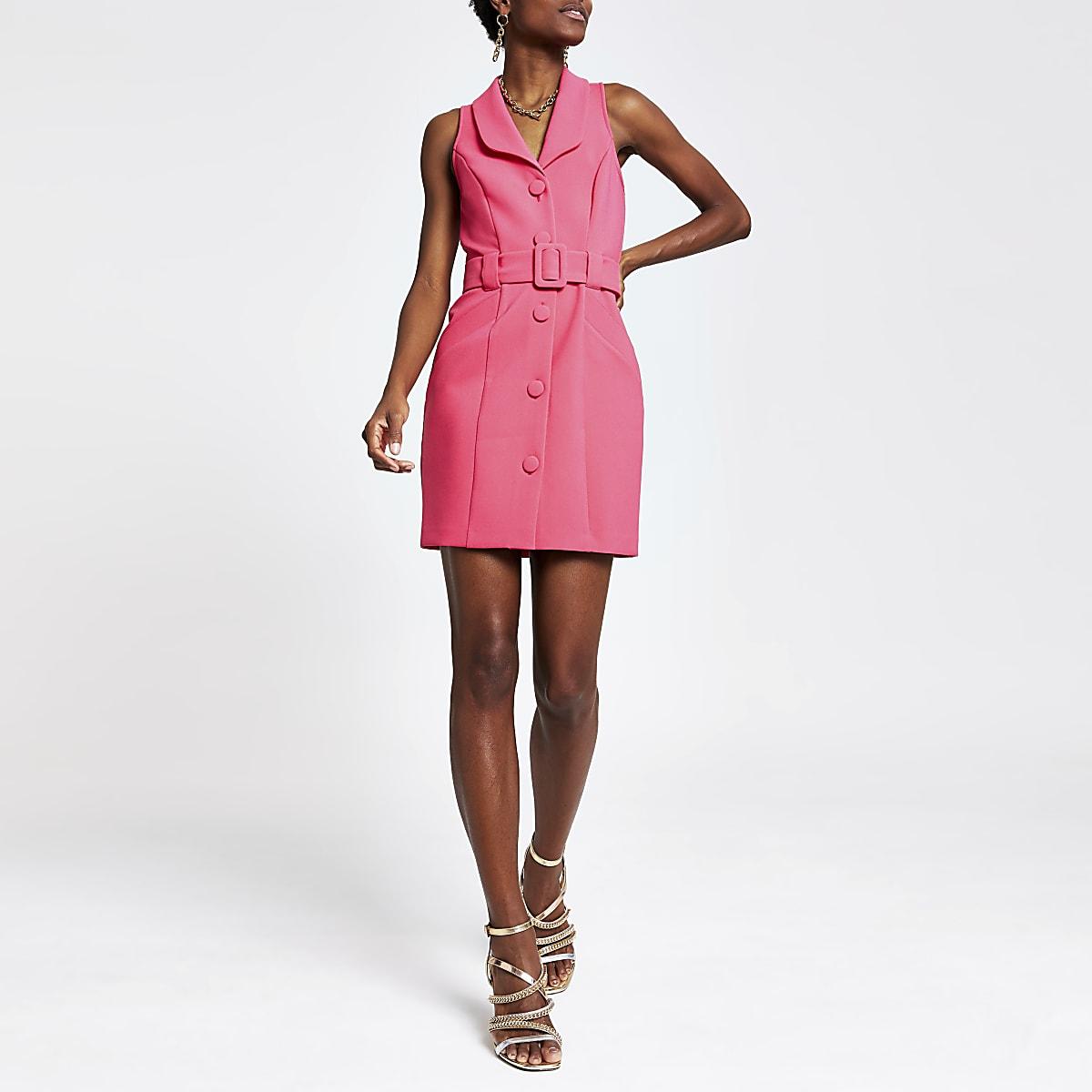 Pink utility tux bodycon dress