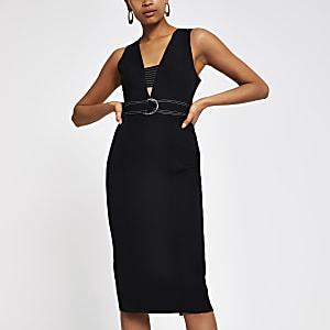 Black belted bodycon midi dress