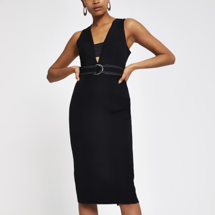 Black belted bodycon midi dress