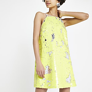 Yellow sequin slip dress