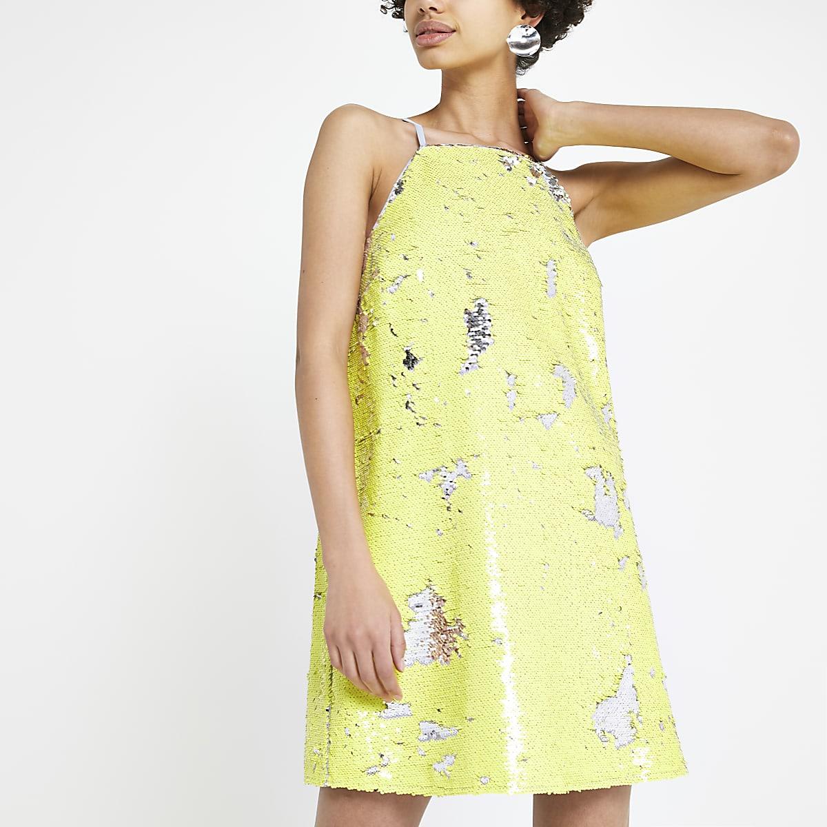 Yellow sequin slip dress