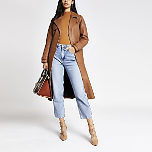 Brauner Trenchcoat mit Taillengürtel aus Leder