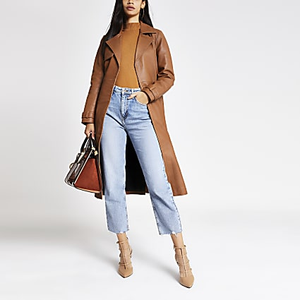 Brown leather belted waist trench coat