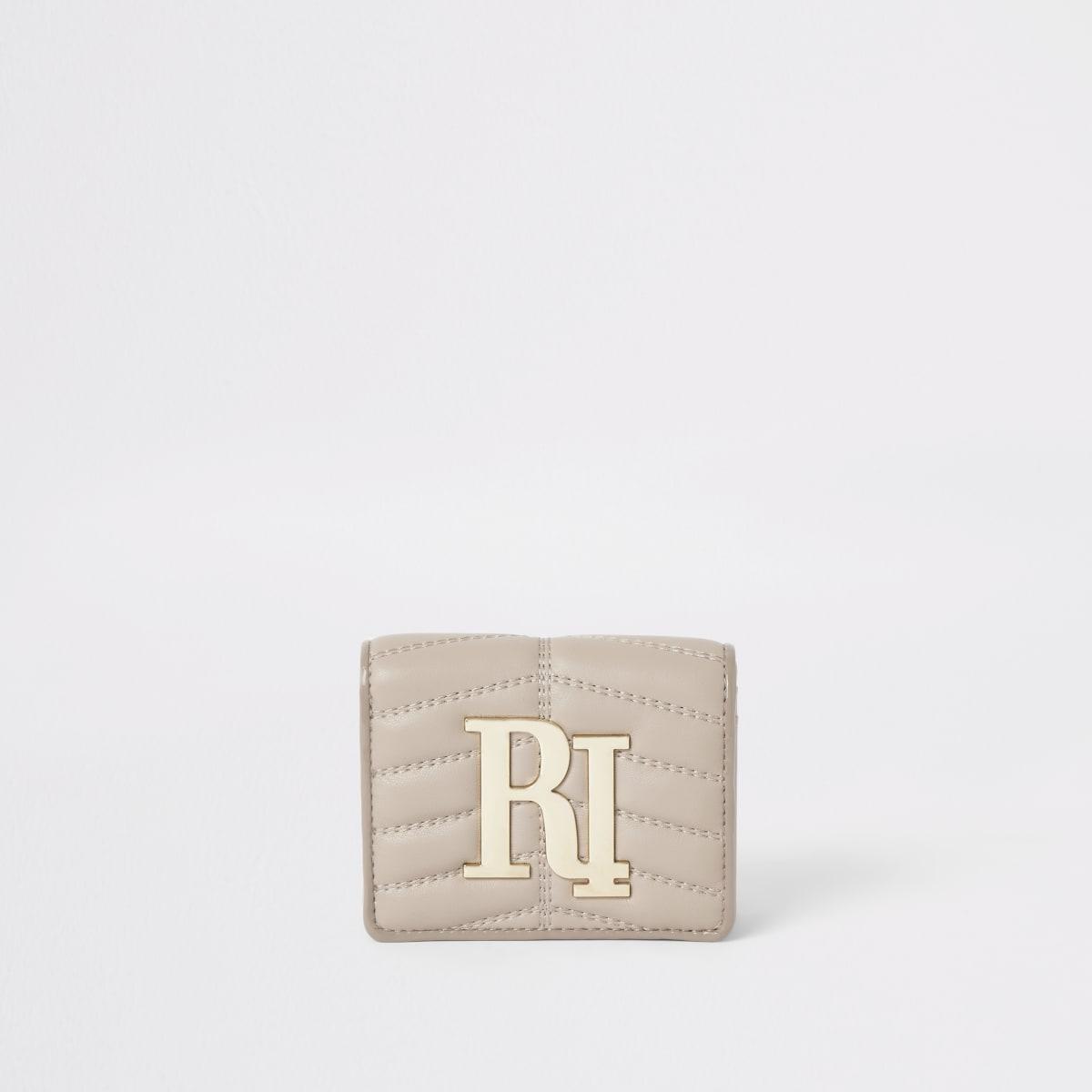 Porte-monnaie RI matelassé crème à rabat