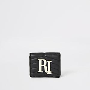 Porte-monnaie RI matelassé noir à rabat