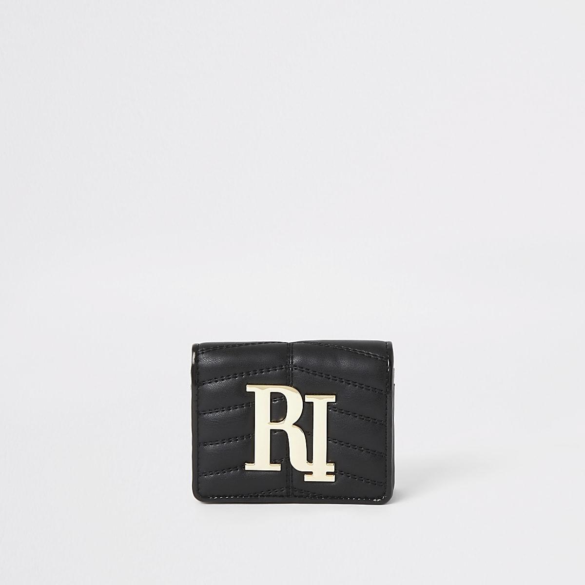 Zwarte Dames Portemonnee.Zwarte Gewatteerde Uitvouwbare Portemonnee Met Ri Logo