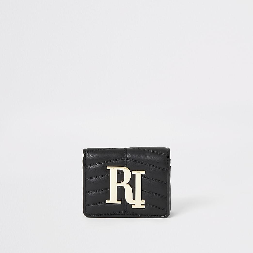 Zwarte gewatteerde uitvouwbare portemonnee met RI-logo