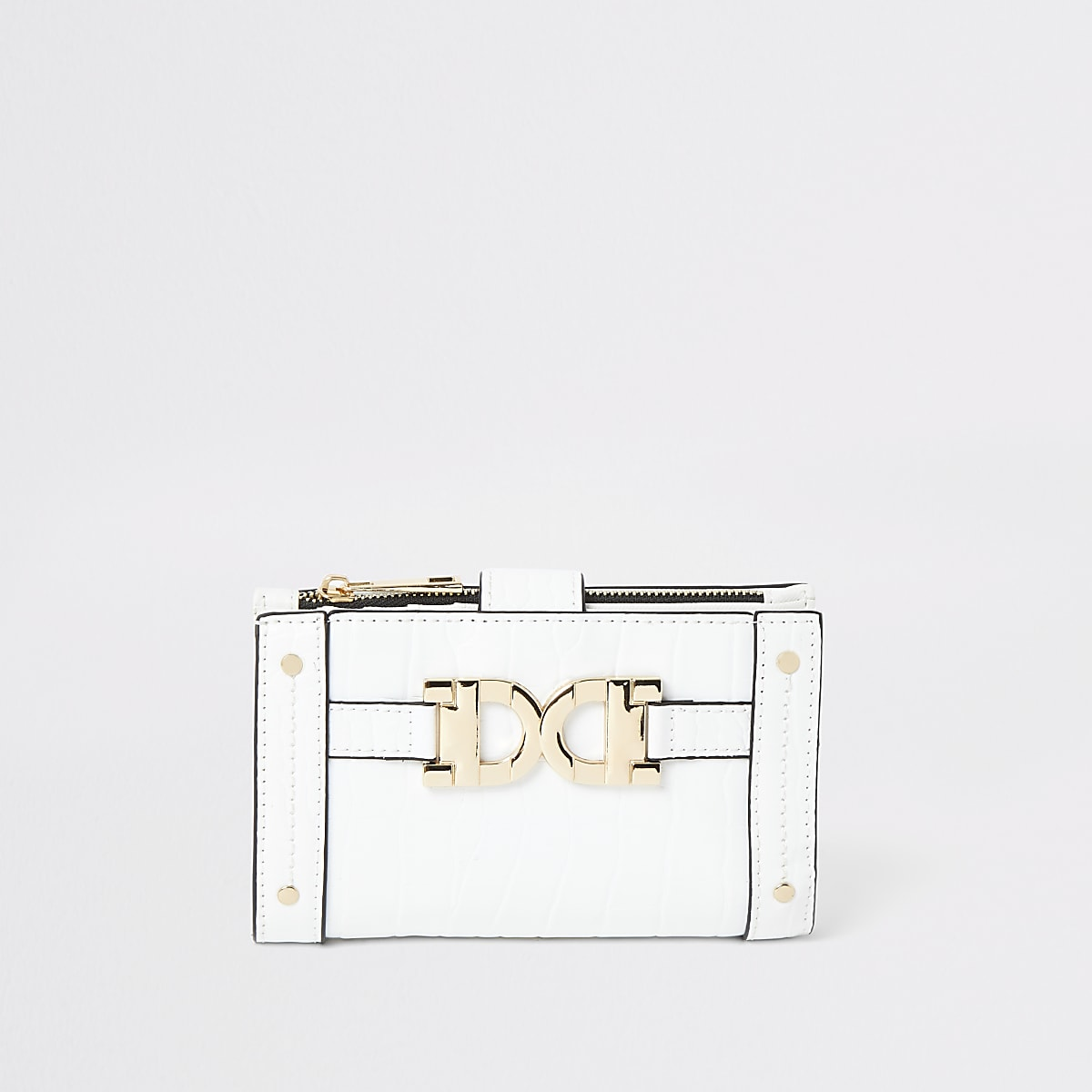 White gold detail mini fold out purse