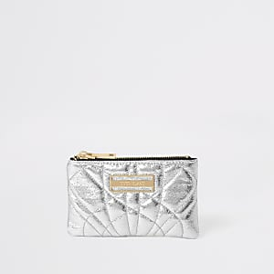 Silver quilted mini zip pouch