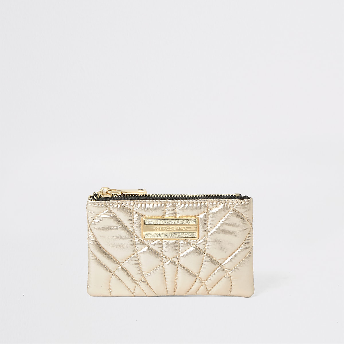 Gold quilted mini zip pouch