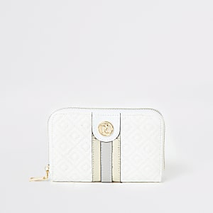 White quilted zip around purse