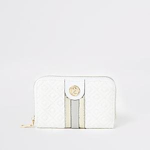 Witte doorgestikte portemonnee met rits rondom