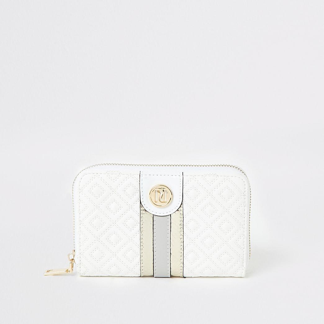 White quilted zip around purse