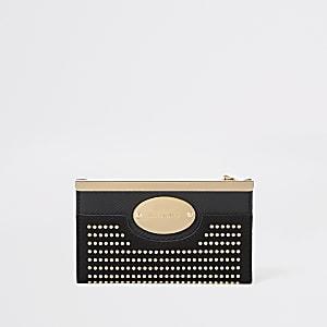 Mini porte-monnaie noir clouté à rabat