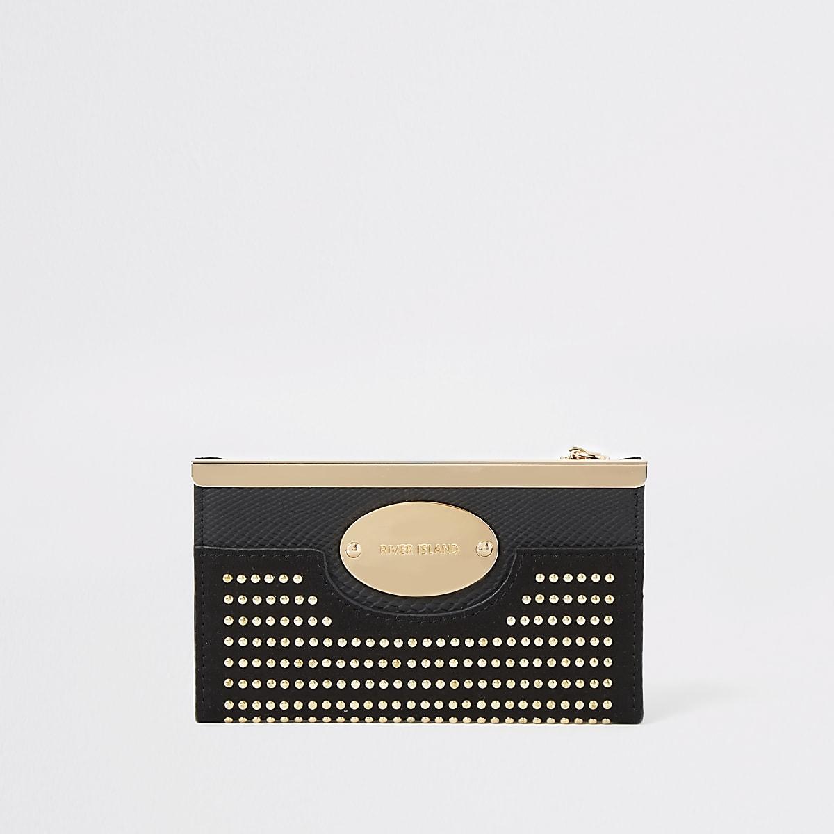 Black studded mini fold out purse